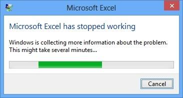 Office Excel: Microsoft excel has stopped working