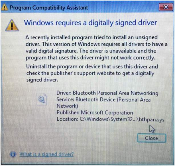 "The message ""a digitally signed driver is required"" when start LOL"