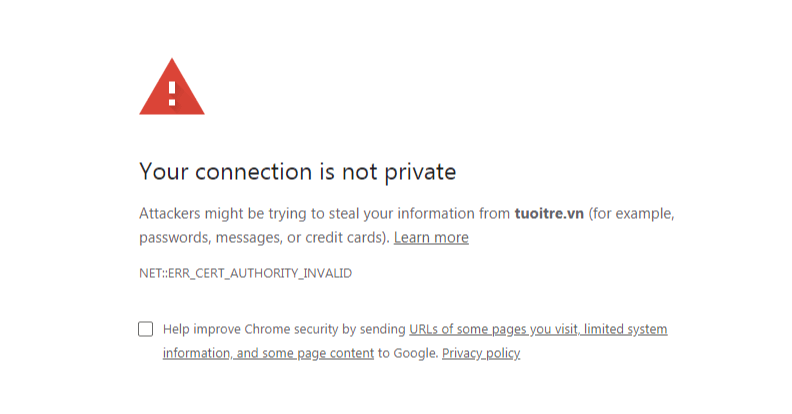 "Fix the ""Your connection is not private"" error on Chrome"