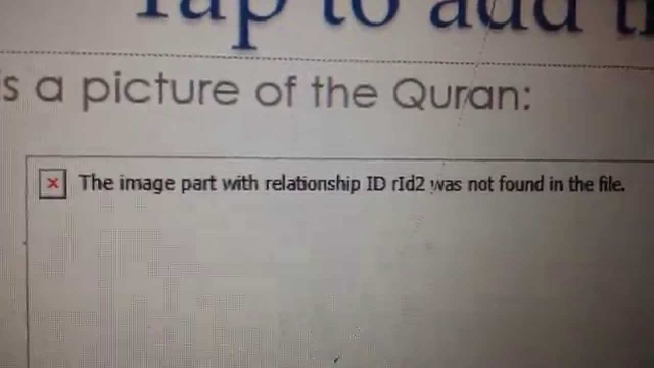 How to fix The image part with relationship ID rId2 was not found in the file