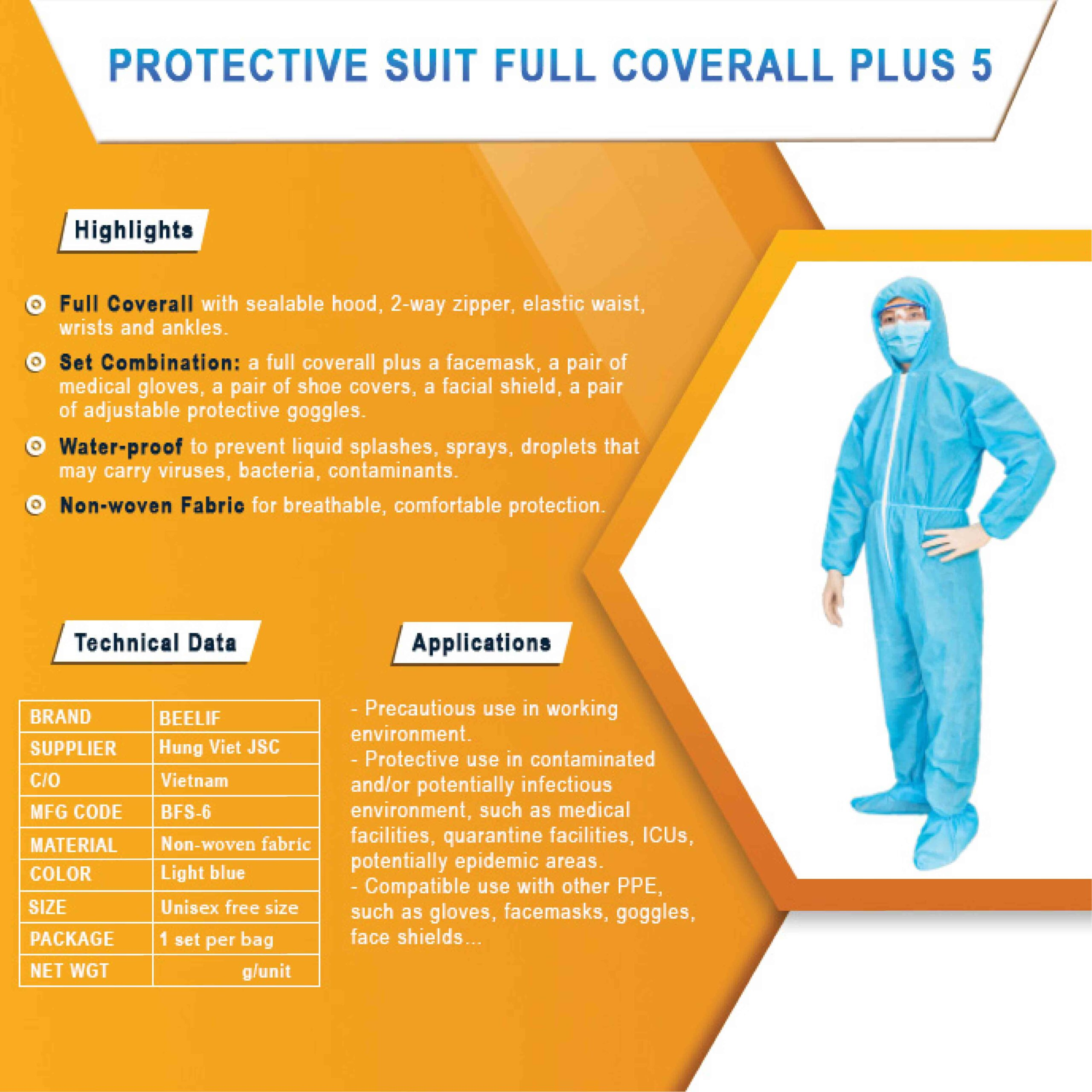Protective suit full coverall & shoe covers
