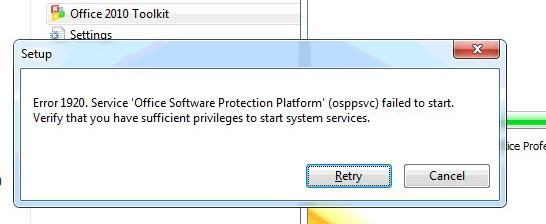 """Corrected the error """"Setup Error 1920 Service Office Software Protection Platform osppsvc falied to start"""" on office 2010"""