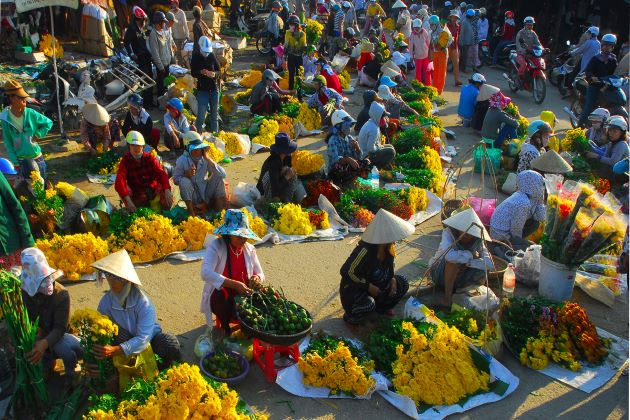 flower market on Vietnamese lunar new year