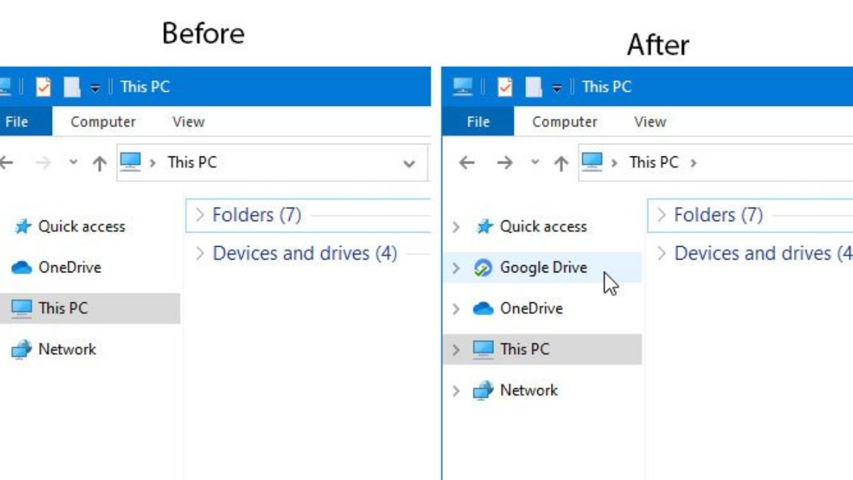 How to add Google Drive to File Explorer navigation pane in Windows 10