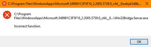 Win32Bridge.server.exe Incorrect function error