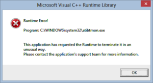 How to fix runtime error in Windows 10