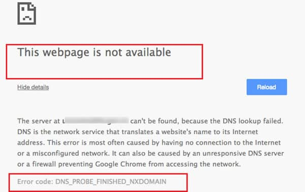 What is DNS_Probe_Finished_Nxdomain error?