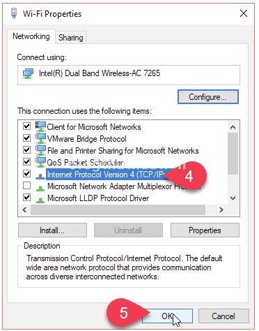 Select Internet Protocol Version 4 (TCP/IPv4)